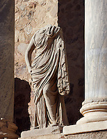 Persephone; Scenae frons built in 105 AD and restored between 333 and 335 AD; Replica of the original sculpture dated 1st Century AD, in safe custody at the National Museum of Roman Art since 1986; Roman Theatre, built in 16 - 15 BC, promoted by Marcus Vipsanius Agrippa (63 BC-12 BC), Merida (Augusta Emerita, Capital of Hispania Ulterior), Extremadura, Spain