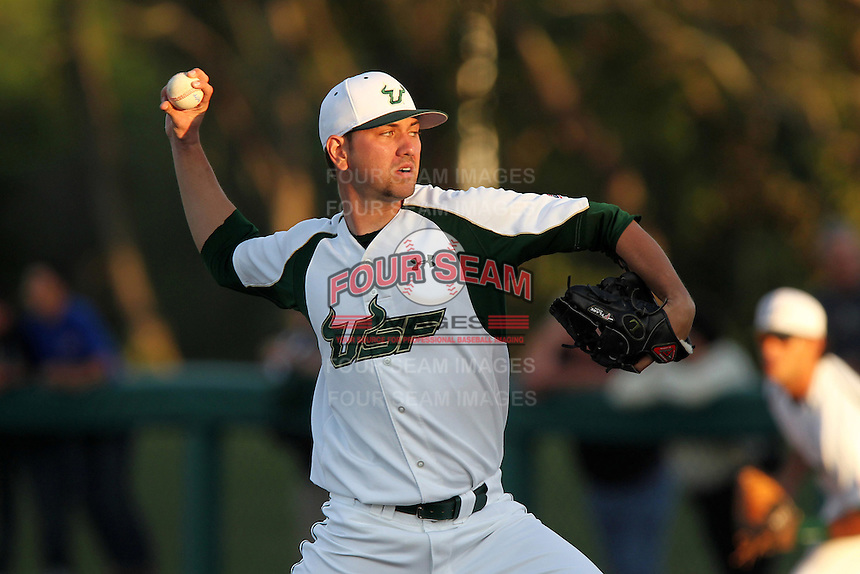 South Florida Bulls pitcher Derrick Stultz #19 delivers a pitch during a game against the Illinois State Redbirds at the USF Baseball Complex on March 14, 2012 in Tampa, Florida.  South Florida defeated Illinois State 10-5.  (Mike Janes/Four Seam Images)