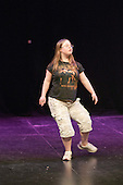 "Katherine Morland, who has Down's Syndrome, rehearsing her dance routine.  Special Olympics Surrey put on a show,   ""Beyond the Stars"", at the Rose Theatre, Kingston upon Thames to raise money for the  SOGB team.  The Special Olympics are for athletes with learning disabilities."