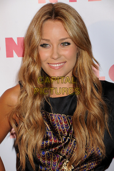 """LAUREN CONRAD  .NYLON Magazine's """"90210"""" Cover Launch Party at the Roosevelt Hotel's Tropicana Bar, Hollywood, California, USA..September 4th, 2008.headshot portrait black red blue purple gold pattern.CAP/ADM/BP.©Byron Purvis/AdMedia/Capital Pictures."""