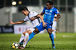 Christian Kwesi of SC Kitchee (R) fights for the ball with Chi Chung Wong of Dreams FC (L) during the week two Premier League match between Kitchee and Dreams FC at on September 10, 2017 in Hong Kong, China. Photo by Marcio Rodrigo Machado / Power Sport Images