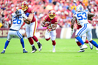Landover, MD - September 16, 2018: Washington Redskins running back Chris Thompson (25) runs through a big hole  during game between the Indianapolis Colts and the Washington Redskins at FedEx Field in Landover, MD. The Colts defeated the Redskins 21-9.(Photo by Phillip Peters/Media Images International)
