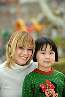 "Swiss singer and TV presenter Francine Jordi visiting ""SOS Kinderdorf"" in Tianjin, China. With Qiu Yiyu, 8 year old. 22-Mar-2016"