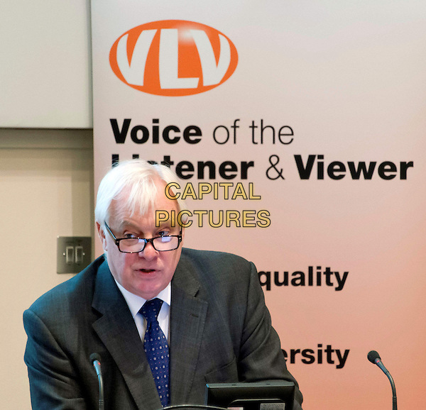 Chris Patten arrives at  annual conference organised by the Voice of the Listener and Viewer, discussing the current state of the BBC, and what he sees is the future for the corporation. The Geological Society, Burlington House, Piccadilly, London, England..November 26th, 2012.half length black suit blue tie white shirt glasses microphone.CAP/BF.©Bob Fidgeon/Capital Pictures.