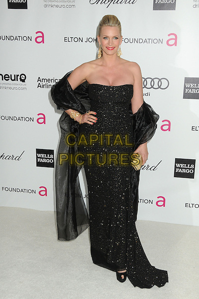Natasha Henstridge.20th Annual Elton John Academy Awards Viewing Party held at West Hollywood Park, West Hollywood, California, USA..February 26th, 2012.oscars full length dress wrap sash hand on hip black  strapless  .CAP/ADM/BP.©Byron Purvis/AdMedia/Capital Pictures.