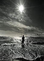 Fisherman on the Eastshore of San Francisco Bay.<br />