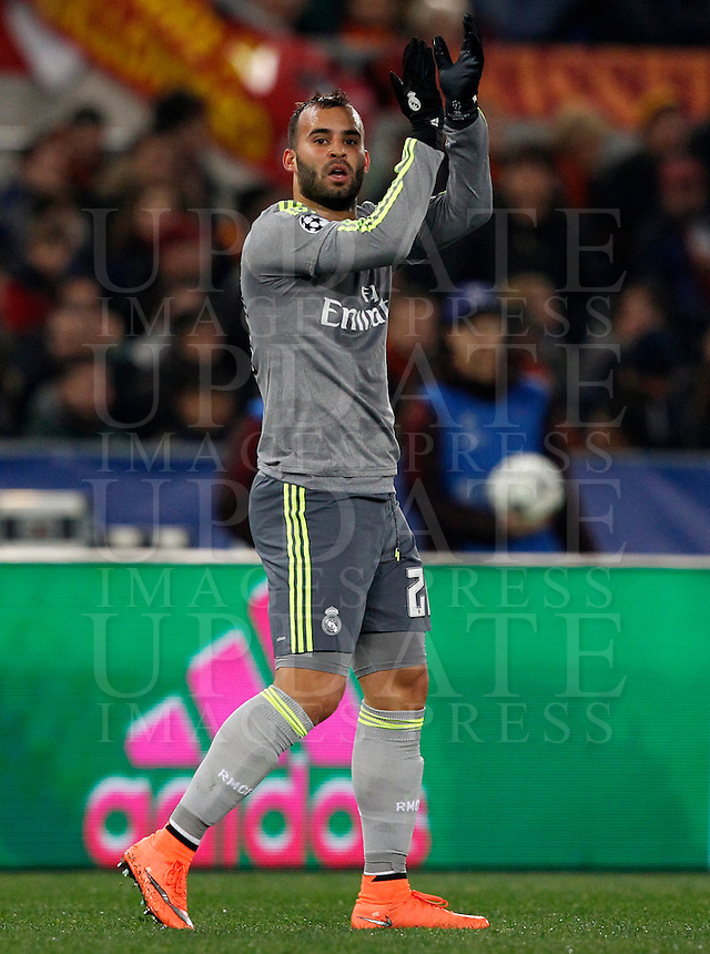 Calcio, andata degli ottavi di finale di Champions League: Roma vs Real Madrid. Roma, stadio Olimpico, 17 febbraio 2016.<br /> Real Madrid's Jese' greets fans after scoring during the first leg round of 16 Champions League football match between Roma and Real Madrid, at Rome's Olympic stadium, 17 February 2016.<br /> UPDATE IMAGES PRESS/Riccardo De Luca