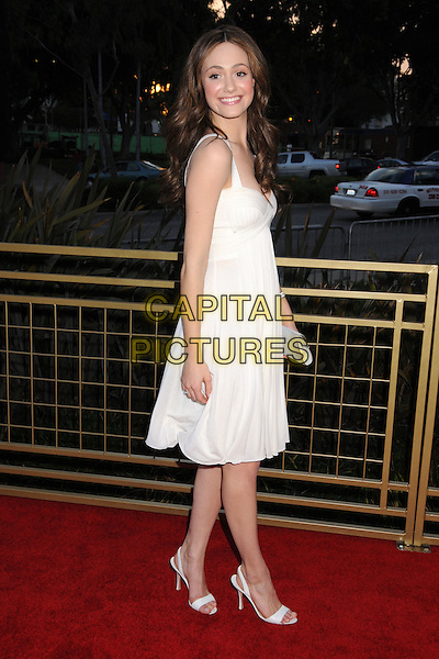 EMMY ROSSUM.LG Electronics Launches the Scarlet HD TV Series at the Pacific Design Center, West Hollywood, California, USA..April 28th, 2008.full length white dress clutch bag silver .CAP/ADM/BP.©Byron Purvis/AdMedia/Capital Pictures.