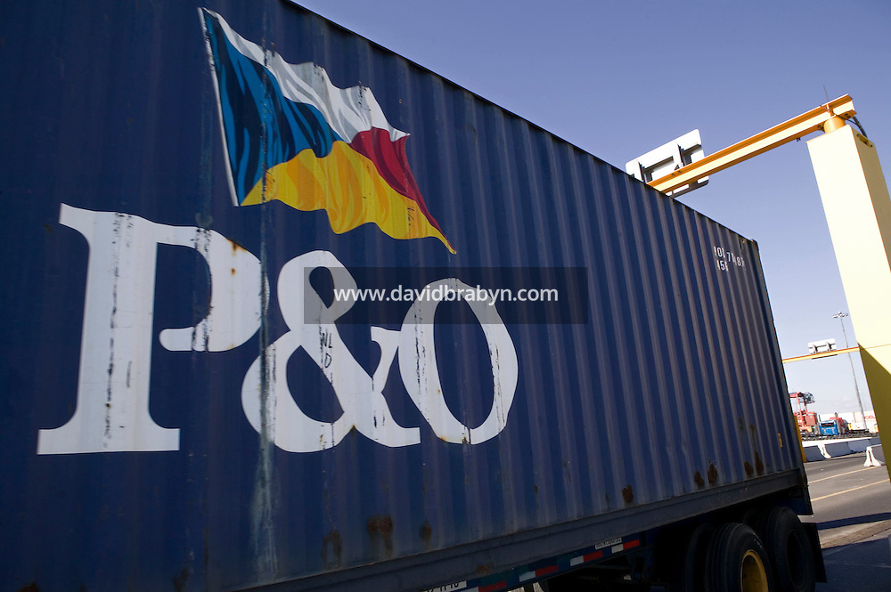24 February 2006 - Newark, NJ - A truck carrying a P&O container passes through a radiation portal monitor that detects hidden radioactive sources in the Port of Newark Container Terminal in Newark, USA, 24 February 2006.