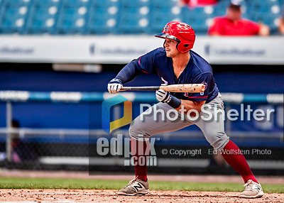 22 July 2018: Louisville Bats first baseman Brian O'Grady squares to bunt against the Syracuse SkyChiefs at NBT Bank Stadium in Syracuse, NY. The Bats defeated the Chiefs 3-1 in AAA International League play. Mandatory Credit: Ed Wolfstein Photo *** RAW (NEF) Image File Available ***