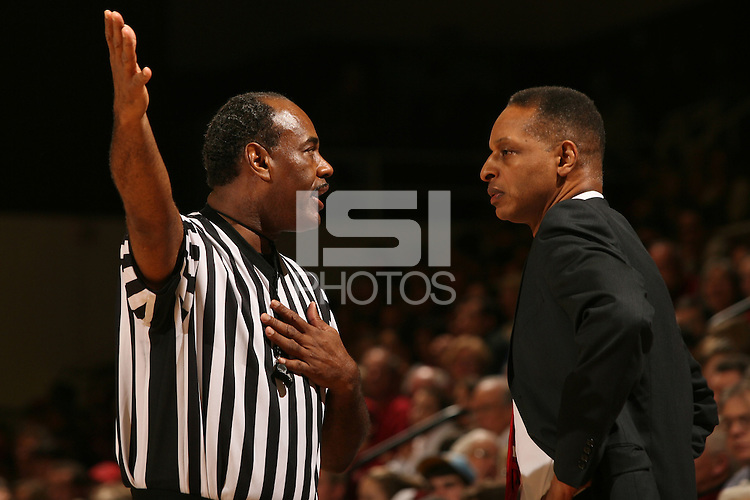 28 January 2007: Head coach Trent Johnson during Stanford's 75-68 win over UCLA at Maples Pavilion in Stanford, CA.