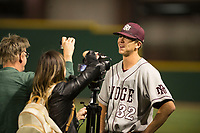 Mountain Ridge Mountain Lions starting pitcher Matthew Liberatore (32) talks to the media after a game against Sandra Day O'Connor High School at Brazell Field at GCU on April 19, 2018 in Glendale, Arizona. Mountain Ridge defeated Sandra Day O'Connor 2-1. (Zachary Lucy/Four Seam Images)