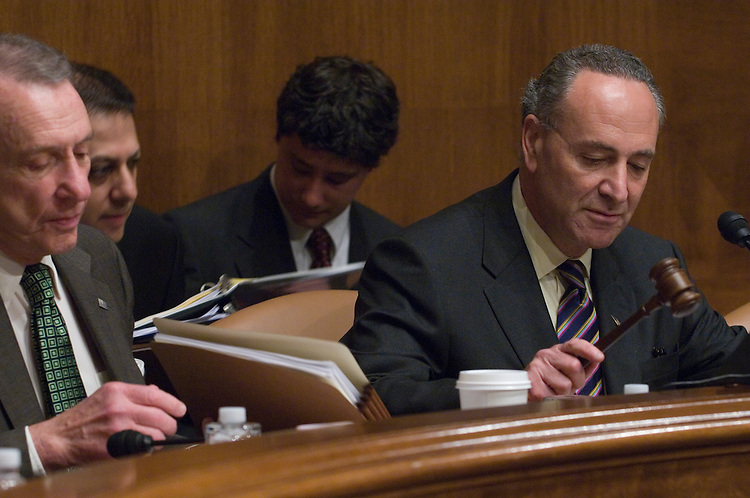 """, Arlen Specter, R-PA., and Chairman Charles Schumer, D-NY., calls the hearing to order during the full committee hearing on """"Preserving Prosecutorial Independence: Is the Department of Justice Politicizing the Hiring and Firing of U.S. Attorneys?"""""""