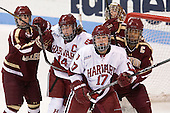 Dana Trivigno (BC - 8), Jillian Dempsey (Harvard - 14), Kaitlin Spurling (Harvard - 17), Corinne Boyles (BC - 29), Blake Bolden (BC - 10) - The Boston College Eagles defeated the Harvard University Crimson 2-1 in the opening game of the 2013 Beanpot on Tuesday, February 5, 2013, at Matthews Arena in Boston, Massachusetts.