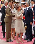 Spain's Queen Sofia (r), Prince Felipe (l), and Princess Letizia (c) greets to the authorities during a military parade marking the Armed Forces Day on June 2, 2012 in Valladolid.(ALTERPHOTOS/Acero)