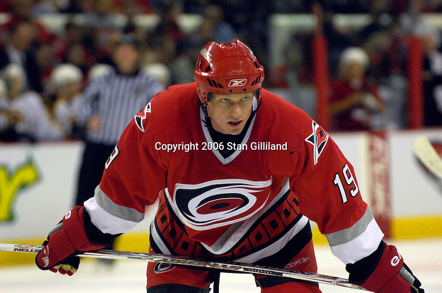 The Carolina Hurricanes' Trevor Letowski readies for a faceofff with the Boston Bruins during an NHL hockey game Saturday, Dec. 2, 2006 in Raleigh, N.C. Carolina won 5-2.<br />