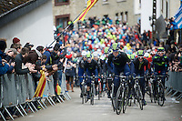 Team Movistar paces the peloton up the Cote de Saint-Roche (1850m/6.3%) in Houffalize in service of race favourite Alejandro Valverde (ESP/Movistar)<br /> <br /> 102nd Li&egrave;ge-Bastogne-Li&egrave;ge 2016