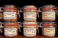 Meat pate Schinkeneisbein, Griebenschmalz, Gutsleberwurst on display in famous Dallmayr food store in Munich, Bavaria, Germany