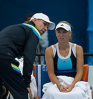 Caroline Wozniacki (DEN) &amp; Thomas Hogstedt (SWE)<br /> <br /> Tennis - APIA International  - Sydney -  Olympic Park  -  Holmbush - Australia  - Tuesday 7th January 2014. <br /> <br /> &copy; AMN Images, 8 Cedar Court, Somerset Road, London, SW19 5HU<br /> Tel - +44 7843383012<br /> mfrey@advantagemedianet.com<br /> www.amnimages.photoshelter.com<br /> www.advantagemedianet.com<br /> www.tennishead.net