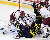 Isaac MacLeod (BC - 7), Vinny Scotti (Merrimack - 25), Mike Collins (Merrimack - 13), Patrick Brown (BC - 23) - The Boston College Eagles defeated the visiting Merrimack College Warriors 4-3 on Friday, November 16, 2012, at Kelley Rink in Conte Forum in Chestnut Hill, Massachusetts.