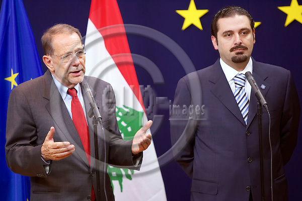 BRUSSELS - BELGIUM - 24 JULY 2006 -- European Union foreign policy chief Javier SOLANA (L) addresses a joint news conference with Saad al-HARIRI, parliamentary majority leader of Lebanon, at the end of a meeting. -- European Union countries are ready to contribute to a peace force for Lebanon but problems remain in ensuring it can fulfil its mission, Solana said on Monday. -- PHOTO: THIERRY MONASSE / EUP-IMAGES