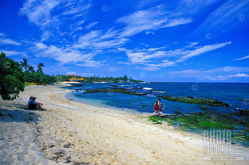 Scenic Kukio Beach and outrigger canoe, Kona coast of Hawaii