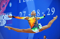 Melitina Staniouta of Belarus performs with ribbon at 2010 Pesaro World Cup on August 27, 2010 at Pesaro, Italy.  Photo by Tom Theobald.