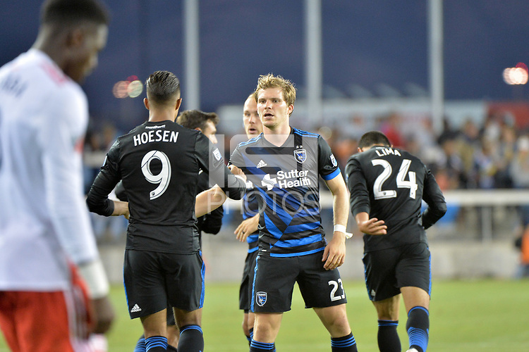 San Jose, CA - Wednesday June 13, 2018: Danny Hoesen, Florian Jungwirth during a Major League Soccer (MLS) match between the San Jose Earthquakes and the New England Revolution at Avaya Stadium.