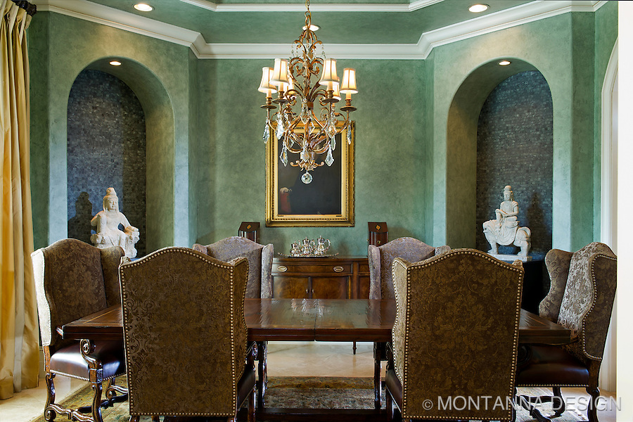 East meets west in this handsome dining room