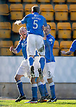 St Johnstone v St Mirren....21.03.15<br /> Steven Anderson celebrates his goal with Frazer Wright and Dave Mackay<br /> Picture by Graeme Hart.<br /> Copyright Perthshire Picture Agency<br /> Tel: 01738 623350  Mobile: 07990 594431
