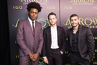 VANCOUVER, BC - OCTOBER 22: Echo Vellum, Alexander Calvert and Rick Gonzales at the 100th episode celebration for tv's Arrow at the Fairmont Pacific Rim Hotel in Vancouver, British Columbia on October 22, 2016. Credit: Michael Sean Lee/MediaPunch