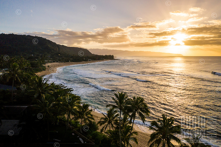 Aerial view of Sunset Beach in the afternoon, North Shore, O'ahu.