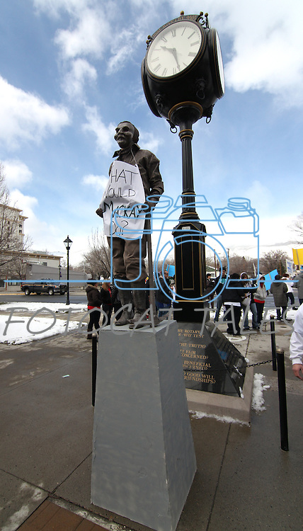 A statue was part of the student rally at the Legislature in Carson City, Nev., on Monday, March 21, 2011, protesting proposed budget cuts to higher education. .Photo by Cathleen Allison