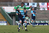 Scott Davies of Wycombe Wanderers, former Reading player and Republic of Ireland U21International shields the ball from Yeovil's Keiran Murtagh during Yeovil Town vs Wycombe Wanderers, Coca Cola League Division One Football at Huish Park on 26th December 2009