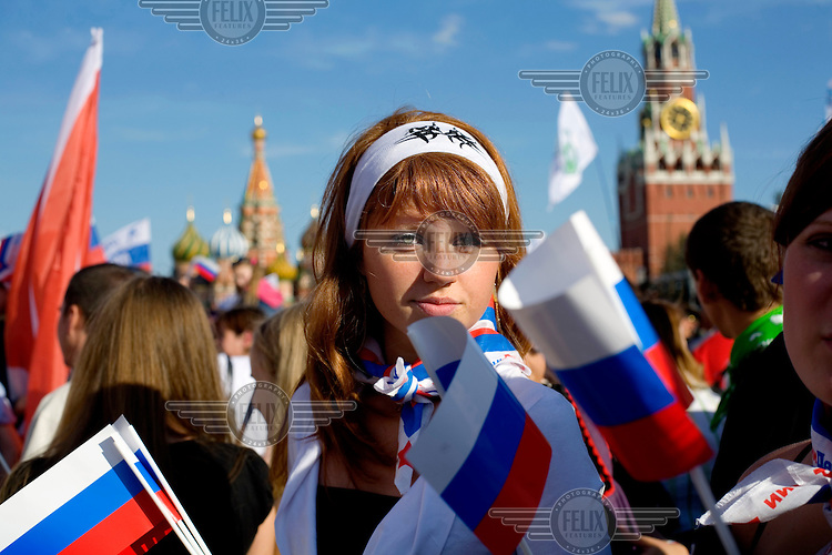 Members of Nashi, an organisation of youth activists said to be bankrolled by the Kremlin, gather at the Red Square to demonstrate during Russia Day, a national holiday created in 1991 to celebrate Russia sovereignty and national unity.