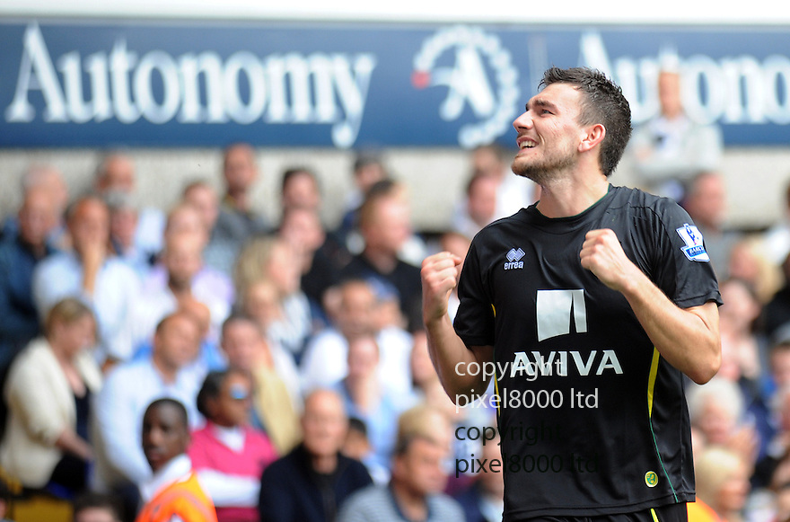 Robert Snodgrass celebrates after scoring for Norwich City during the Barclays Premier League match between Tottenham Hotspur and Norwich City at White Hart Lane on September 1, 2012 in London, England. Picture Zed Jameson/pixel 8000 ltd.