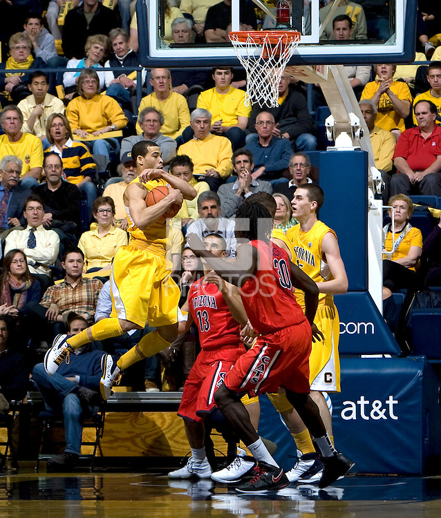 Justin Cobbs of California rebounds the ball during the game against Arizona at Haas Pavilion in Berkeley, California on February 2nd, 2012.  Arizona defeated California, 78-74.