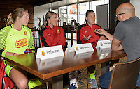 Houston, TX - Thursday Oct. 06, 2016: Britt Eckerstorm, Alanna Kennedy, Ketelyn Rowland during media day prior to the National Women's Soccer League (NWSL) Championship match between the Washington Spirit and the Western New York Flash at BBVA Compass Stadium.