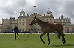 Badminton Horse Trials Gloucestershire UK. Badminton House, competitor exercises his horse in front of the house. HOMER SYKES