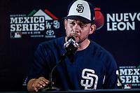Andy Green, manager de los Padres de San Diego en rueda de prensa, previo al partido de los Dodgers de Los Angeles contra Padres de San Diego, durante el primer juego de la serie las Ligas Mayores del Beisbol en Monterrey, Mexico el 4 de Mayo 2018....<br /> (Photo: /Luis Gutierrez)