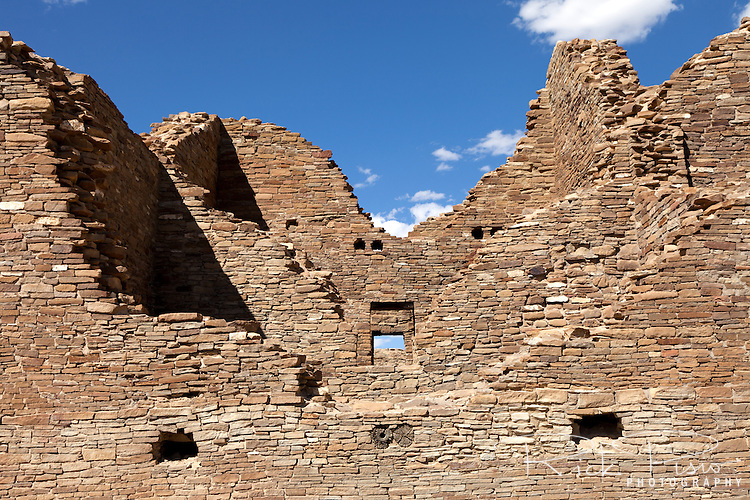 Peublo Bonito at Chaco National Historic Park in New Mexico. Pueblo Bonito reached five stories in height along its back wall and may have contained as many as 800 rooms.