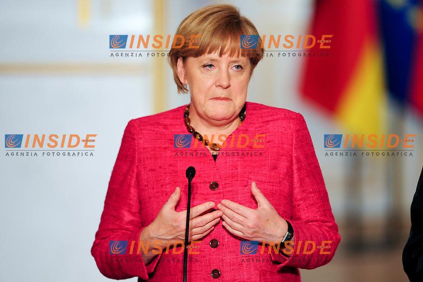 Angela Merkel -  Cancelliere Germania  <br /> Parigi 30/5/2013 Eliseo <br /> Vertice tra il Presidente della Repubblica francese e il Cancelliere tedesco<br /> Foto JB Autisser / Panoramic / Insidefoto