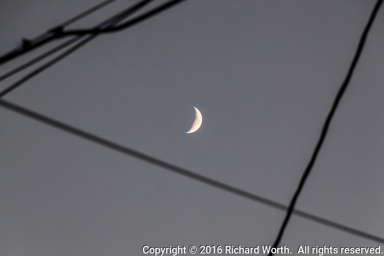 The waxing crescent moon surrounded by utility lines viewed from an urban front yard.