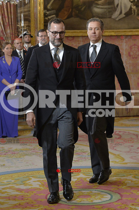 US Ambassaror James Costos, left, and his husband, Michael Smith during the annual Foreign Ambassadors reception at the Royal Palace in Madrid. January 21, 2015. (POOL/Carlos Alvarez/ALTERPHOTOS) /NortePhoto<br /> NortePhoto.com