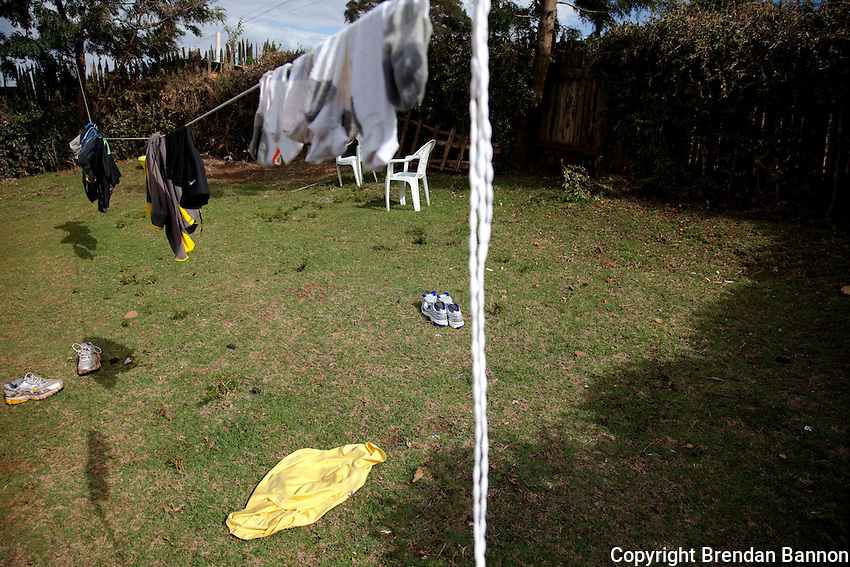 The clothes line at a communal house rented by runners who train in Iten, Kenya. Many Kenyans come to Iten specifically to train  in the hopes of improving thier time and  being noticed by  promoters or  upper level coaches.