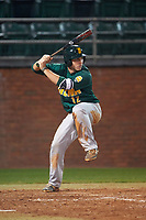 Siena Saints third baseman Jordan Folgers (12) at bat during a game against the Stetson Hatters on February 23, 2016 at Melching Field at Conrad Park in DeLand, Florida.  Stetson defeated Siena 5-3.  (Mike Janes/Four Seam Images)