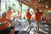 New Orleans, LA - Saturday, July 5, 2014: Dutch fans watch the Netherlands vs. Costa Rica World Cup quarterfinal match at the Rusty Nail.