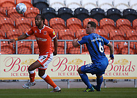 Blackpool's Nathan Delfouneso shields the ball from Rochdale's Harrison McGahey<br /> <br /> Photographer Stephen White/CameraSport<br /> <br /> The EFL Sky Bet League One - Blackpool v Rochdale - Saturday 6th October 2018 - Bloomfield Road - Blackpool<br /> <br /> World Copyright &copy; 2018 CameraSport. All rights reserved. 43 Linden Ave. Countesthorpe. Leicester. England. LE8 5PG - Tel: +44 (0) 116 277 4147 - admin@camerasport.com - www.camerasport.com