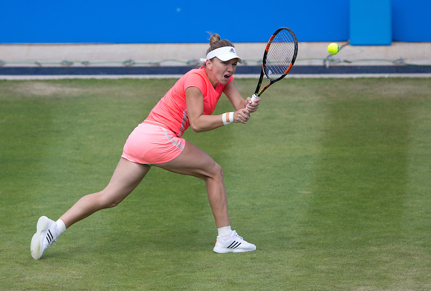 [1] Simona Halep (ROU) in action during her defeat by Kristina Mladenovic (FRA) in their Women&rsquo;s Singles Quarter Final match today - Kristina Mladenovic (FRA) def [1] Simona Halep (ROU) 2-6 6-0 7-6(4)<br /> <br /> Photographer Stephen White/CameraSport<br /> <br /> Tennis - WTA International - Aegon  Classic - Day 5 - Friday 19th June 2015 - Edgbaston Priory Club - Birmingham<br /> <br /> &copy; CameraSport - 43 Linden Ave. Countesthorpe. Leicester. England. LE8 5PG - Tel: +44 (0) 116 277 4147 - admin@camerasport.com - www.camerasport.com