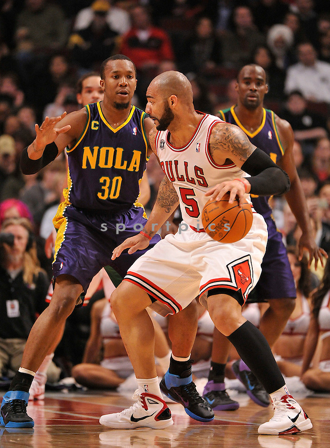 CARLOS BOOZER, of the Chicago Bulls , in actions during the Bulls game against the New Orleans Hornet  at United Center on March 7, 2011.  The Chicago Bulls won the game beating the New Orleans Hornet 85-77.